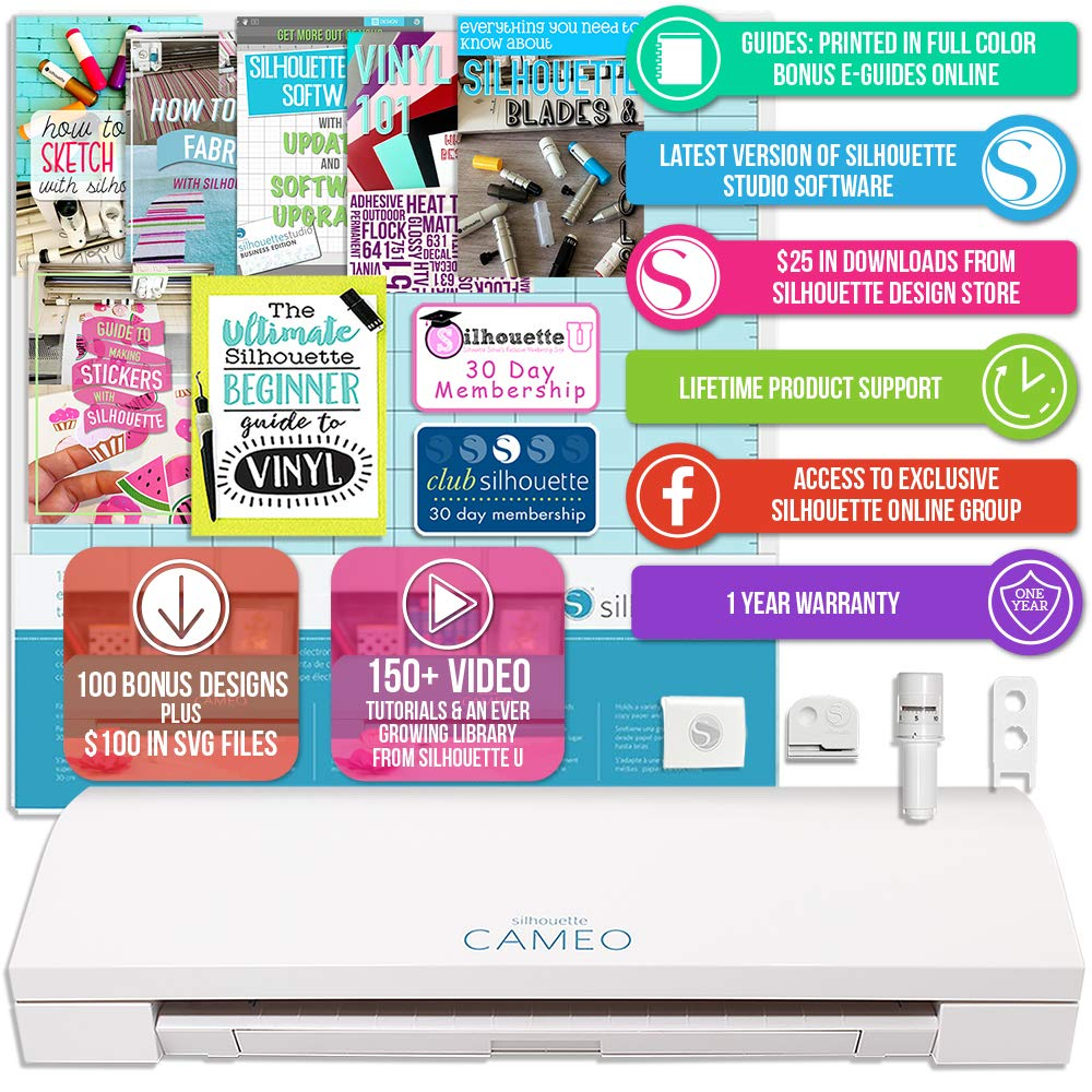 Silhouette Cameo 3 White Bluetooth Starter Bundle with 26-12'' x 12'' Oracal Vinyl Sheets, Transfer Paper, Guide, Class, 24 Sketch Pens by Silhouette America (Image #2)