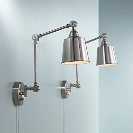 Mendes Modern Wall Lamps Plug In Set Of 2 Brushed Nickel For Bedroom Living  Room Reading   360 Lighting     Amazon.com