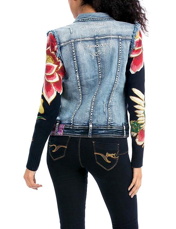 Desigual Women s 57E20B1-5053 Denim Ethnic Deluxe Long Sleeve Jacket   Amazon.co.uk  Clothing 1a71b904ef3b