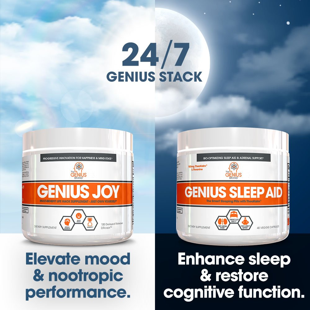 GENIUS SLEEP AID – Smart Sleeping Pills & Adrenal Fatigue Supplement, Natural Stress, Anxiety & Insomnia Relief - Relaxation Enhancer and Mood Support w/Inositol, L-Theanine & Glycine – 40 capsules by The Genius Brand (Image #6)