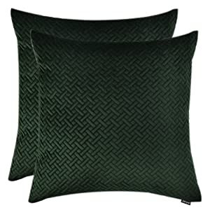 """Artcest Set of 2, Decorative Velvet Bed Throw Pillow Case, Sofa Soft Quilted Pattern, Comfortable Couch Cushion Cover, 18""""x18"""" (Dark Green)"""