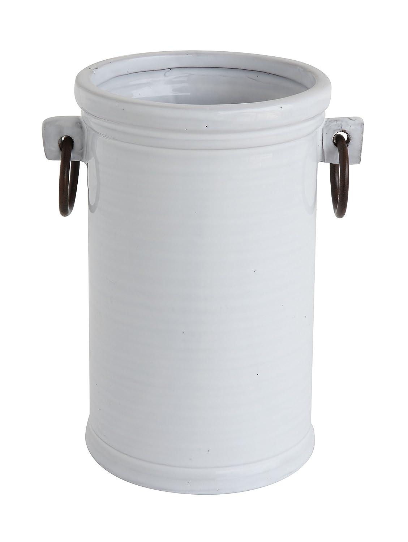 Creative Co-Op White Terracotta Wine Cooler with Metal Handles DA7032