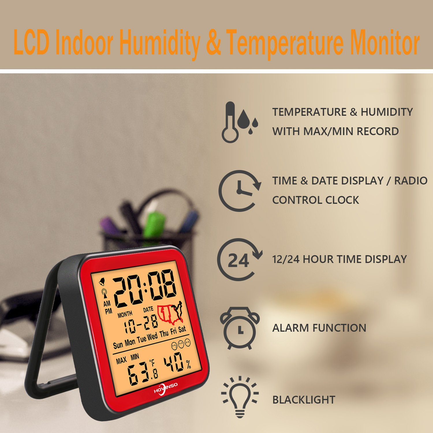 Hovinso Weather Station Clock with Temperature and Humidity Monitor, Indoor Wireless Radio Atomic Alarm Clock for Home Bedroom by Hovinso (Image #2)