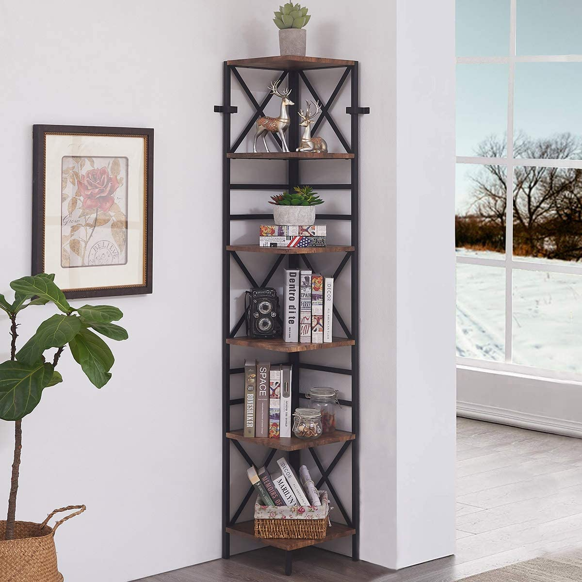 Homissue 6 Tier Industrial Corner Shelf Unit, Tall Bookcase Storage Display Rack for Home Office, Rustic Brown