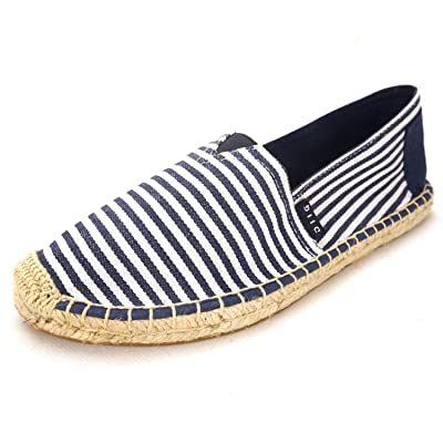 Flat Espadrilles for Women, Slip on Cushioned Canvas Espadrille Shoes Loafers Sneakers, Red/Navy Striped Espadrilles for Women | Loafers & Slip-Ons