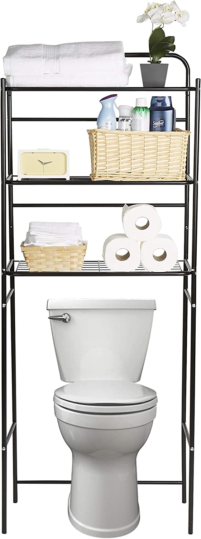 Mind Reader 3TOILR-BLK 3 Tier Organizer, Bathroom Space Saver, Over The Toilet Rack, Black