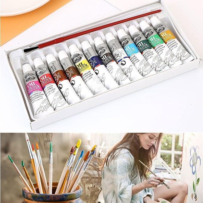 Image ofattachmenttou Pincel Conjunto de pintura al óleo Pintura del artista Pigmento 12 colores Dibujo Para estudiantes