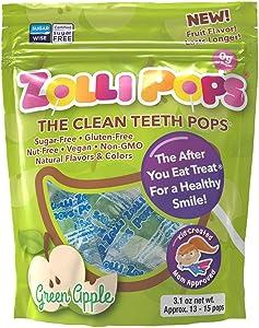 Zollipops Clean Teeth Lollipops, Green Apple, 6.2 Ounce