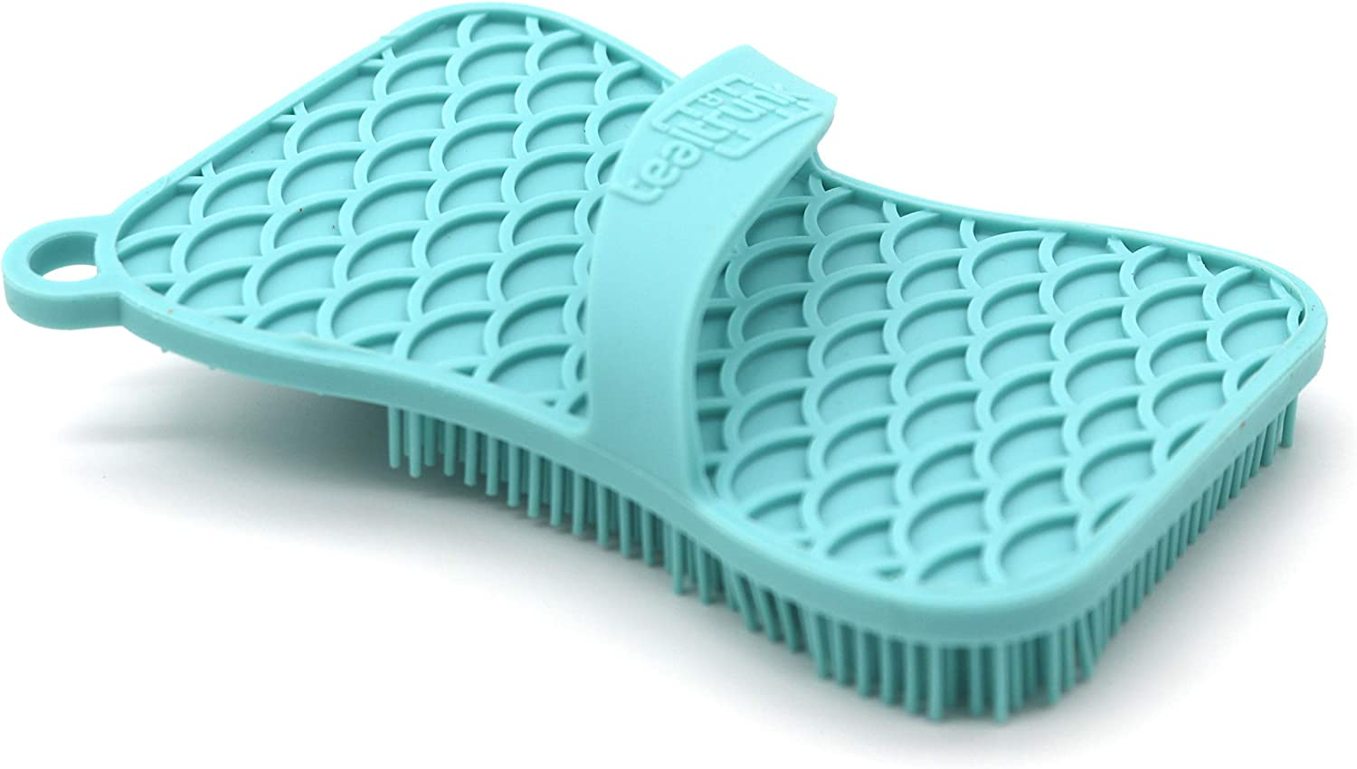 Heat Resistant Antibacterial Teal Trunk Silicone Sponge and Scrubber for Kitchen and Bathroom Cleaning Eco-Friendly Odor and Mold Free
