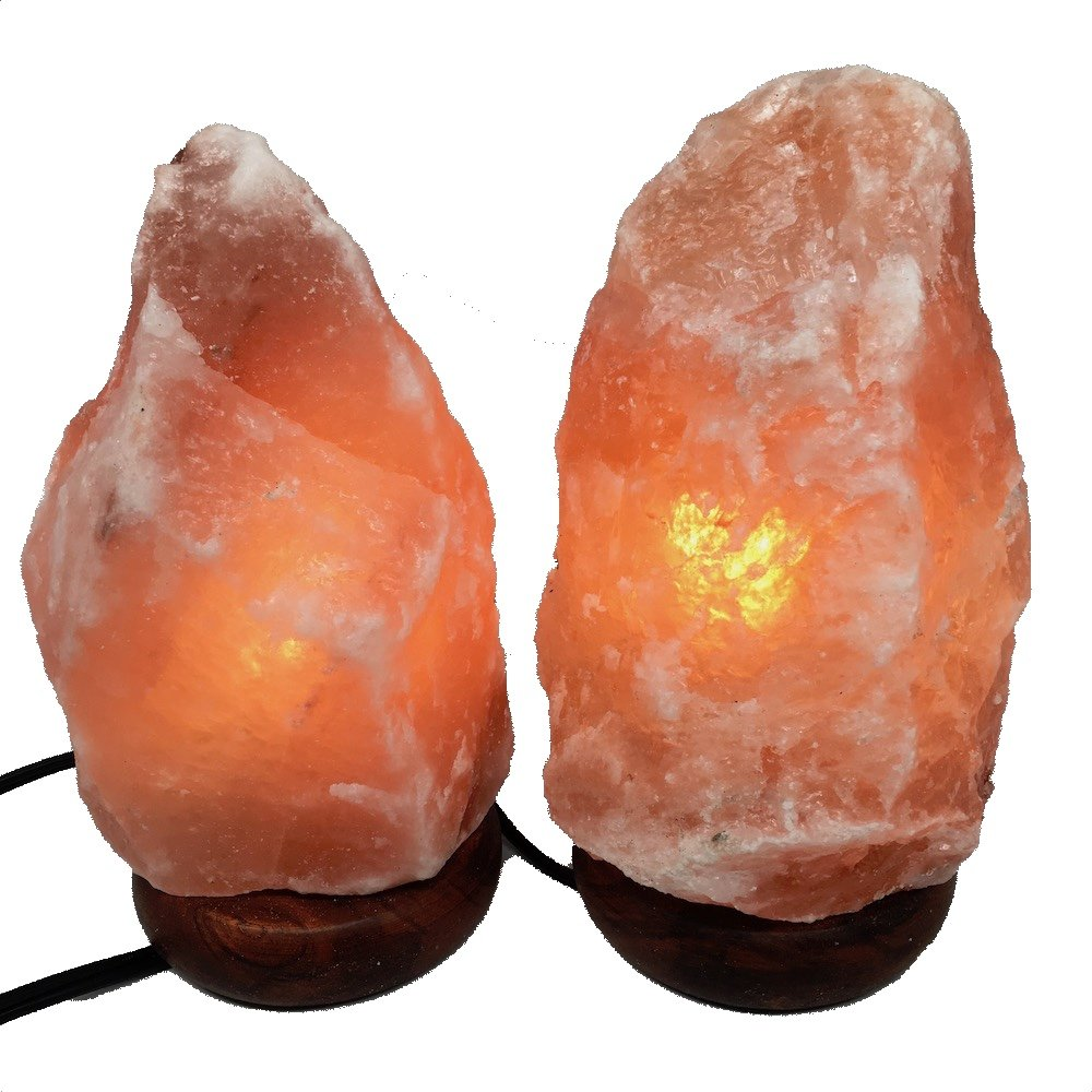 2x Himalaya Natural Handcraft Rough Raw Crystal Salt Lamp,8''-8.5''Tall, X029, Exact Item Delivered