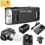 GODOX AD200 TTL 2.4G HSS 1/8000s Pocket Flash Light Double Head 200Ws with 2900mAh Lithium Battery Flashlight Flash Lightning+GODOX X1T-C TTL Wireless Transmitter for Canon EOS series cameras