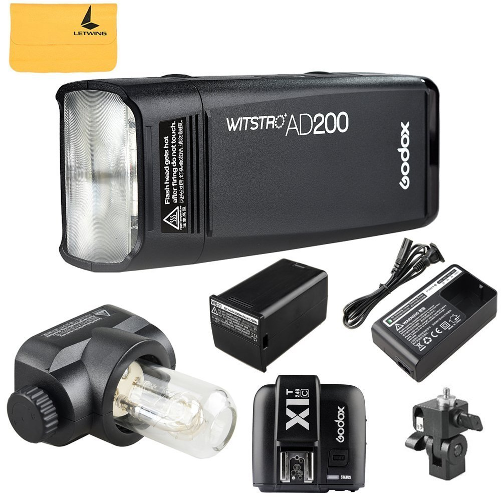 GODOX AD200 TTL 2.4G HSS 1/8000s Pocket Flash Light Double Head 200Ws with 2900mAh Lithium Battery Flashlight Flash Lightning+GODOX X1T-C TTL Wireless Transmitter for Canon EOS series cameras