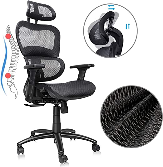 Amazon Com Ergousit Ergonomic Office Chair High Back Executive Chair With Lumbar Support Breathable Mesh Work Chair With Adjustable Headrest And 3d Armrests Swivel Chair For Home Office Black Kitchen Dining