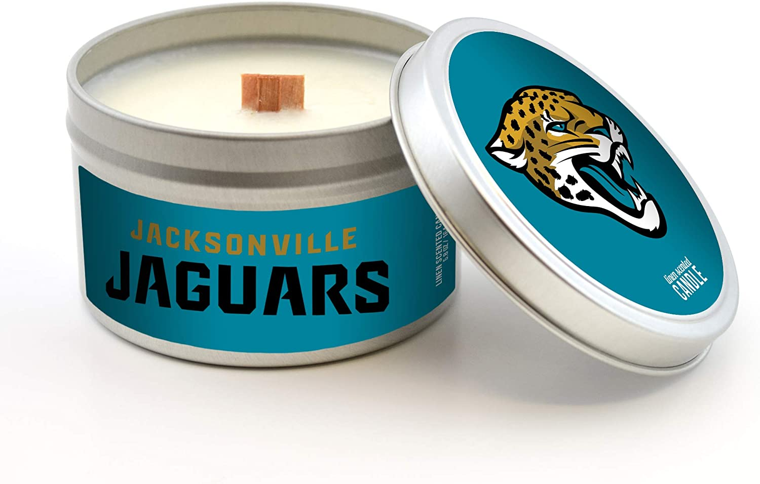 5.8-Ounce Worthy Promotional NFL Jacksonville Jaguars Linen Scented Wood Wick Candle in Travel Tin with Lid