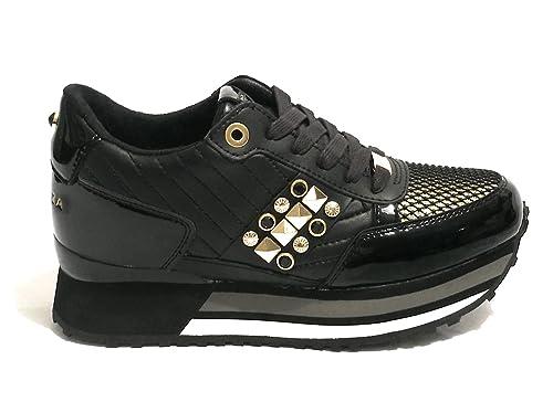 Apepazza Sneaker Running MOD. Raya in Pelle Tessuto Nero Gold Donna  D19AP01  Amazon.it  Scarpe e borse 3dc55a4d135