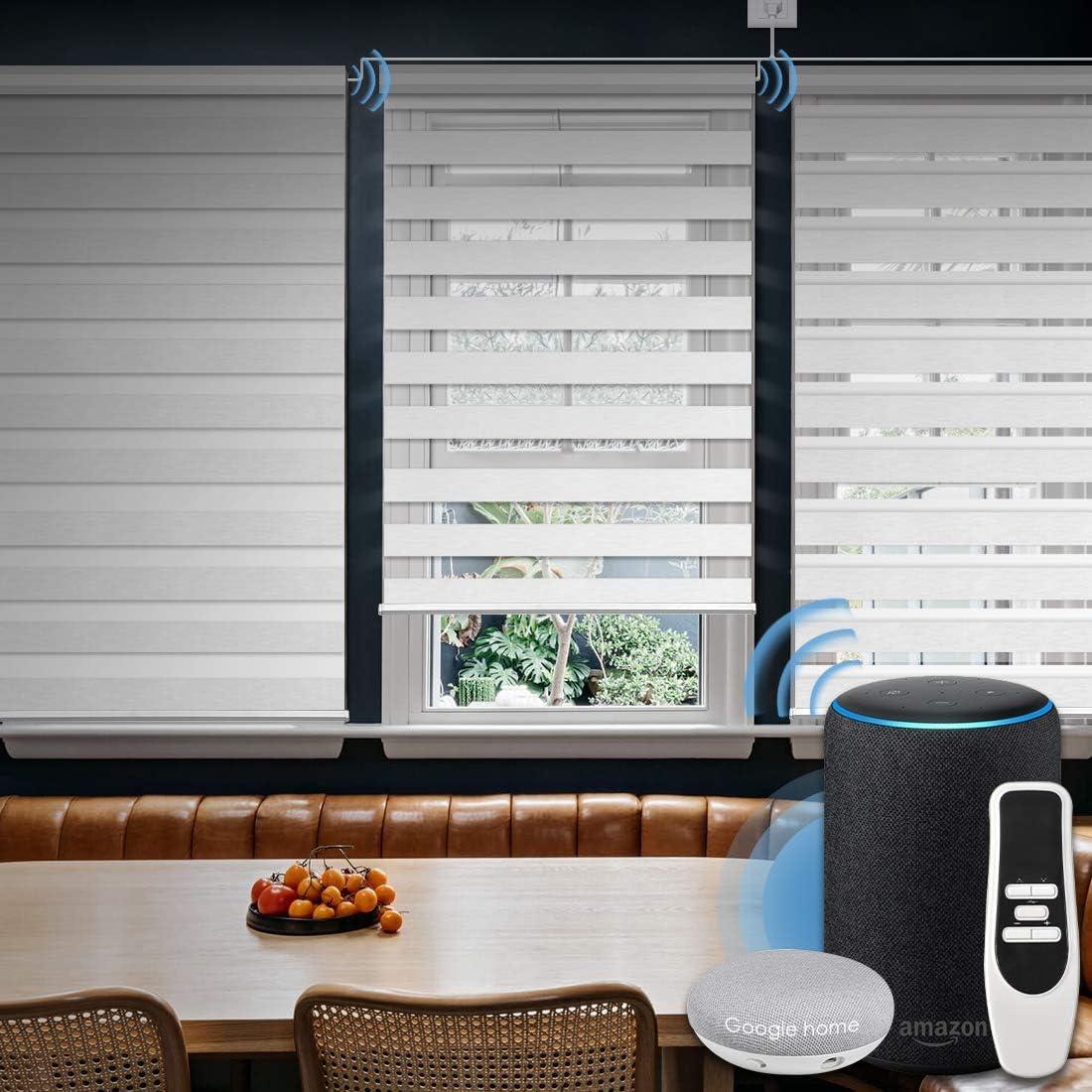 Graywind Motorized Zebra Sheer Shade with Alexa Google WiFi Smart Home Hardwired Plug-in Horizontal Window Blinds Window Shades Light Filtering Window Blinds, Customized Size White