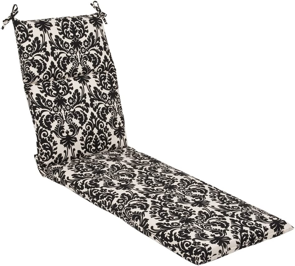 Pillow Perfect Indoor Outdoor Black Beige Damask Chaise Lounge Cushion