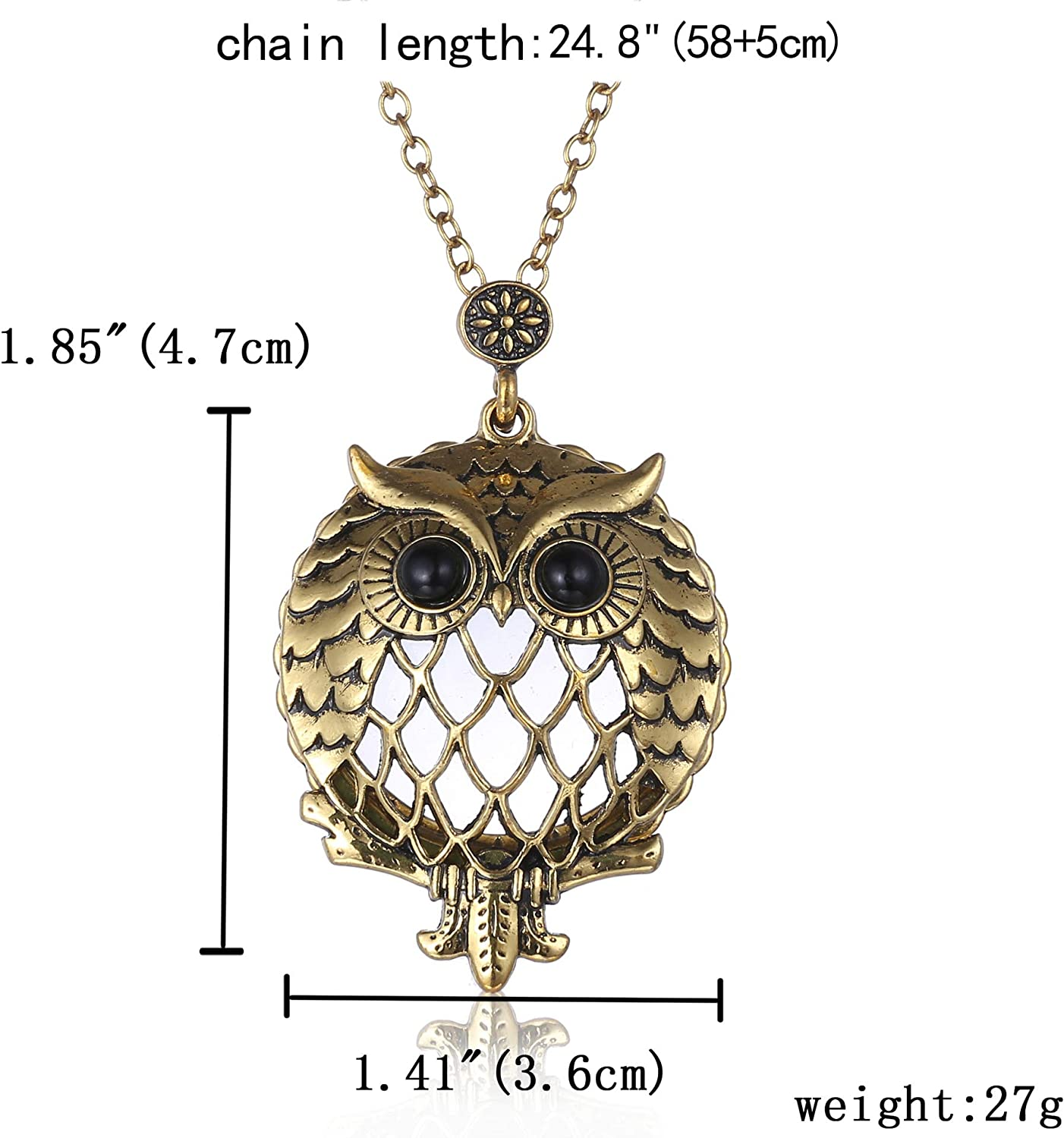 HIKEL 5X Vintage Owl Portable Magnifying Glass Pendant Necklace Pendants Trendy Jewelry for Women Necklace Girls Gift