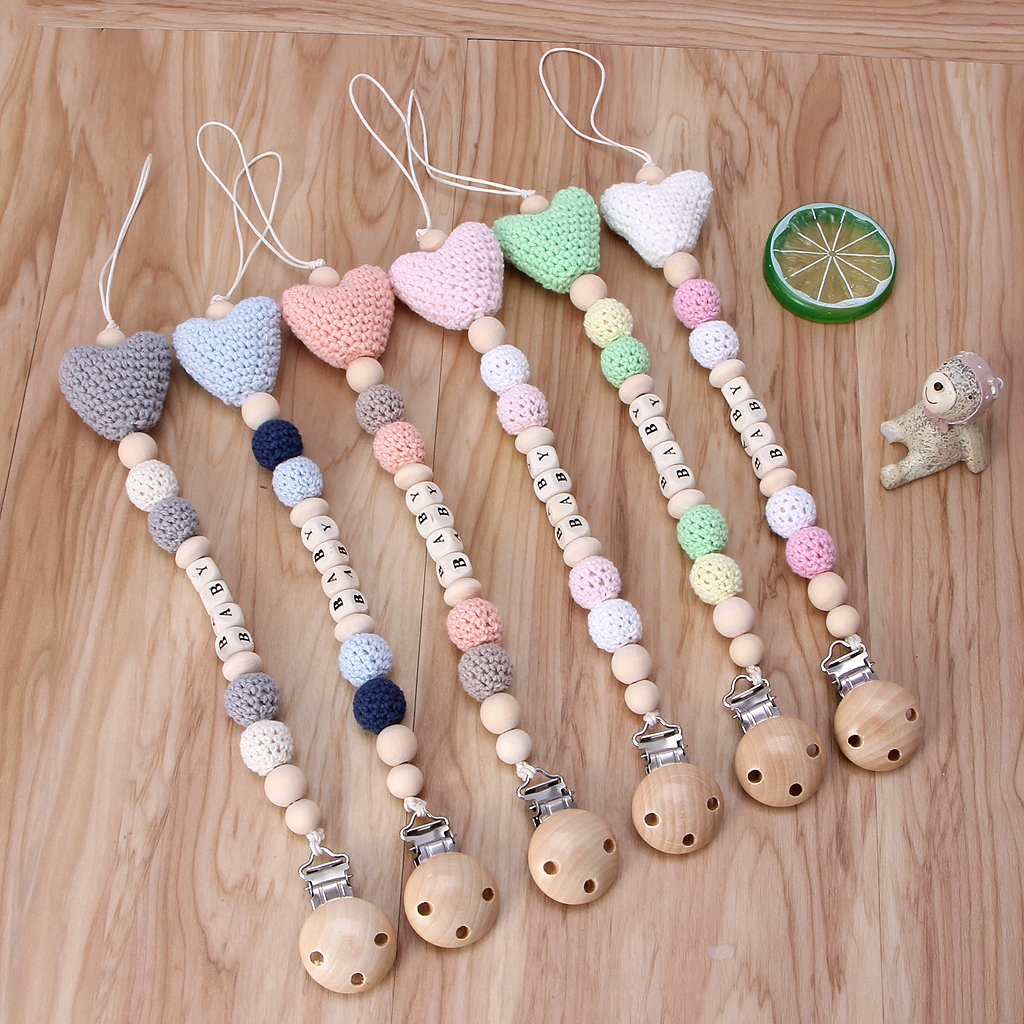 Blue Lazder Wooden Bead Dummy Clip Holder Pacifier Clips Soother Chains Baby Teething Toy