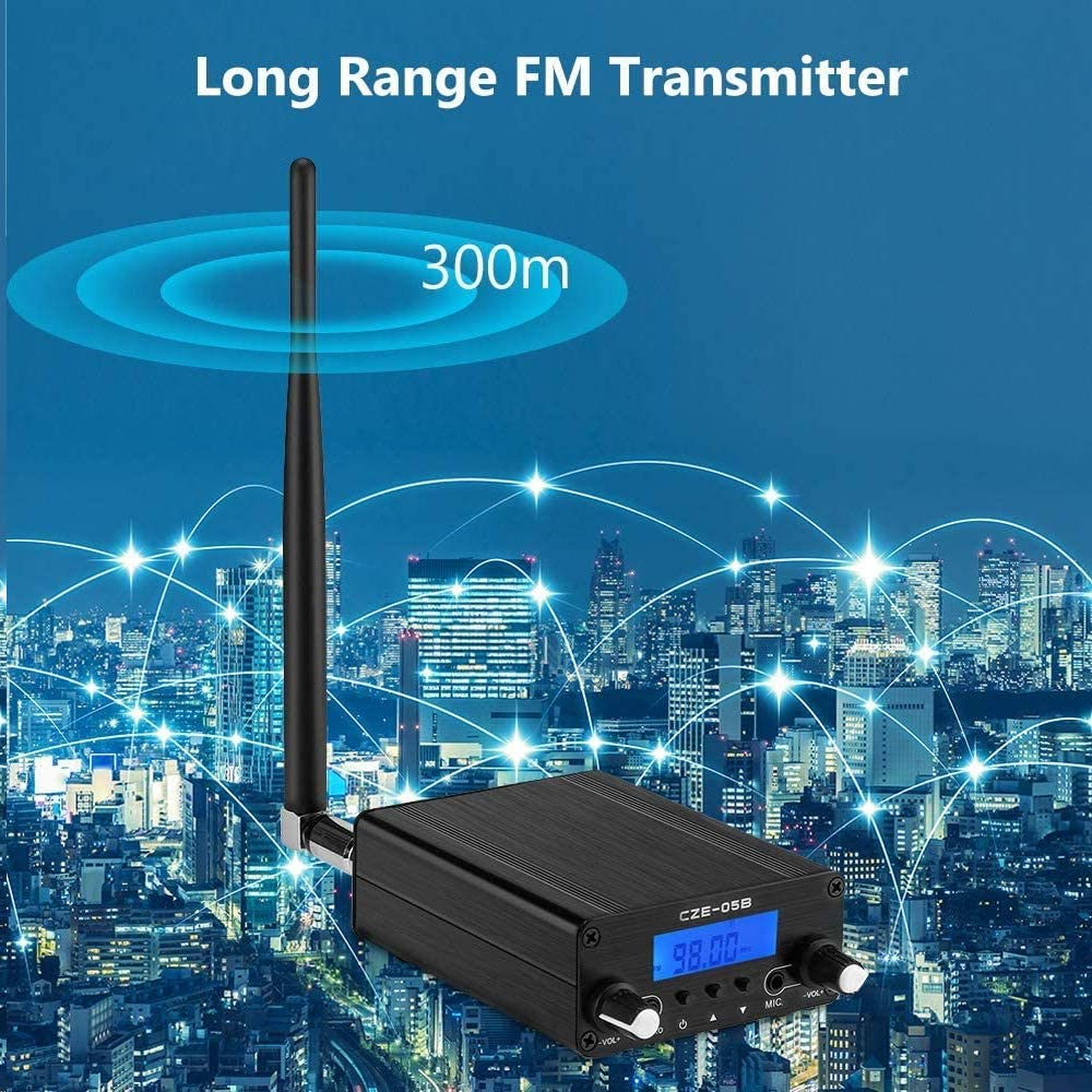 Elikliv 76~108MHz Digital LCD Wireless Stereo Broadcast with Antenna Built-in PLL FM Transmitter Radio Stereo FM Transmitter for Church