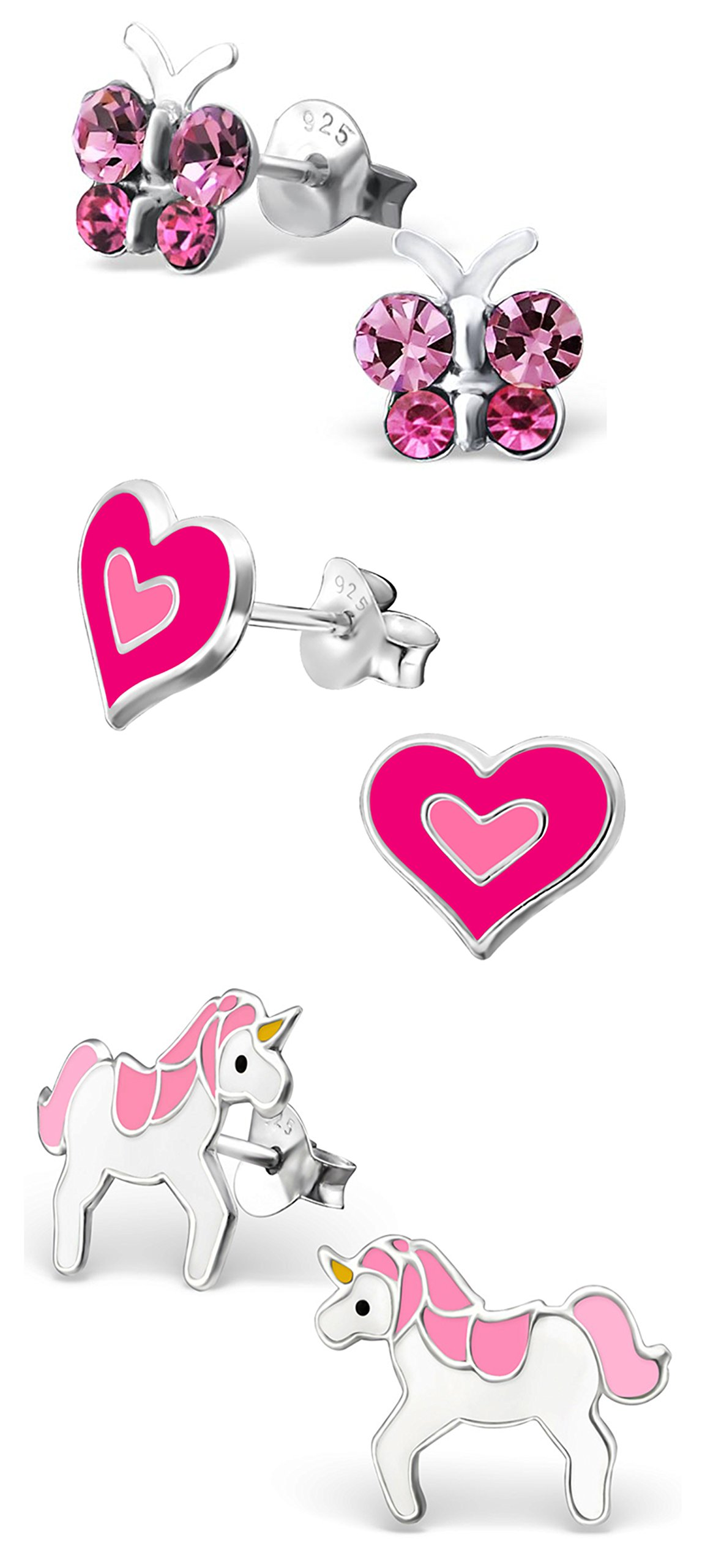 Best Wing Jewelry .925 Sterling Silver Pink Butterfly Crystal, Heart, Unicorn Set Stud Earrings for Children and Teens (3 Pairs) by Best Wing Children's Earrings (Image #1)