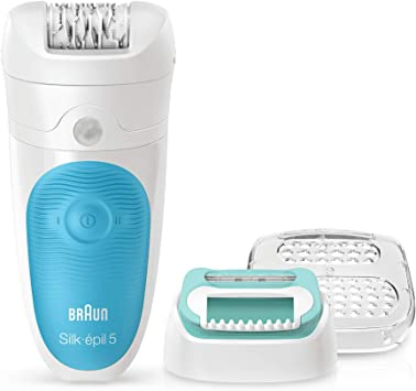 Braun 5-511 Silk-épil Wet & Dry - Depiladora eléctrica para mujer, inalámbrica y cabezal con recortadora, color blanco/azul: Amazon.es: Salud y cuidado personal