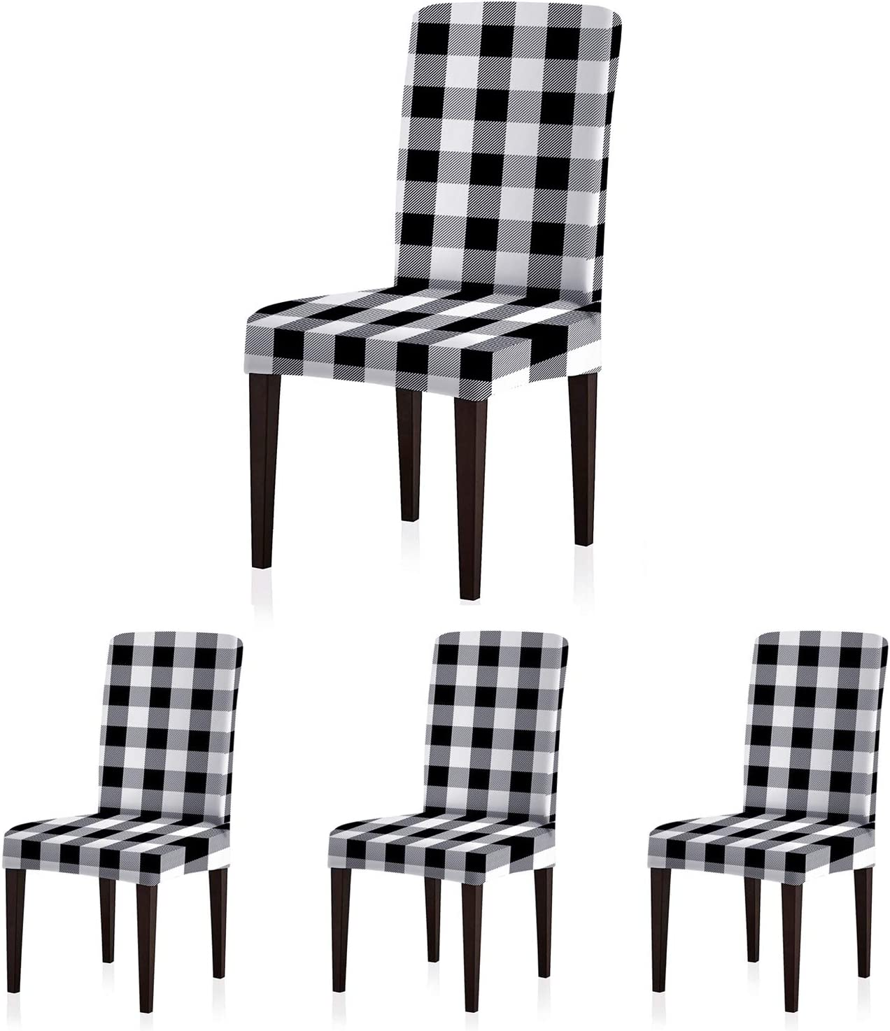 Amazon Com Colorbird Buffalo Check Spandex Chair Slipcovers Removable Universal Stretch Elastic Gingham Chair Protector Covers For Dining Room Restaurant Hotel Banquet Ceremony Set Of 4 Black White Plaid Home Kitchen