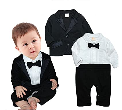 2d6a9671539 FOUNDO Baby Boys Tuxedo Wedding Romper and Jacket 2Pcs Formal Wear Suit  Jumpsuit