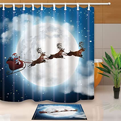 GoEoo Snowy Christmas Landscape Decor Santa Claus Flying On A Sleigh With Deer 69X70in Mildew Resistant