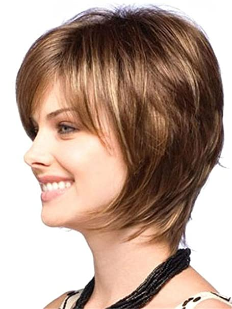 Lzour European And American Wigs Short Hair Women s Fluffy Face Temperament  Hairstyle High Temperature Wire Try Any Face  Amazon.co.uk  Kitchen   Home 39cb11fe05