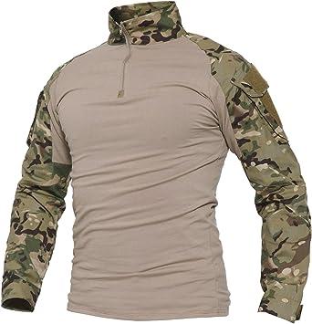 Black Cp Herren Softair Bekleidung Combat Shirt Milit/är Tactical T-Shirt Langarm mit Rei/ßverschlusstaschen Gr L