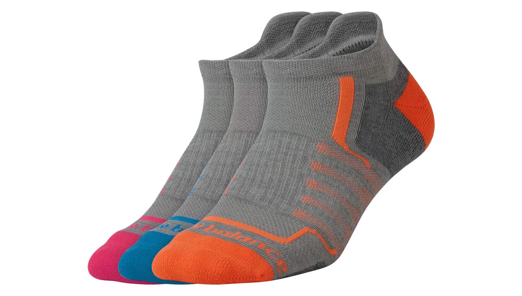 New Balance Women's Performance Low Cut Tab Socks (3 Pack), Grey/Pink/Orange/Teal, Size 6-10