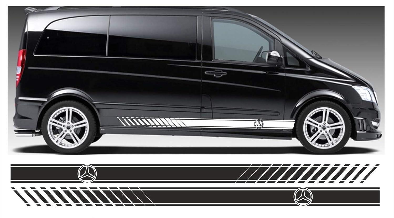 SUPERSTICKI MERC Benz Vito Seitenstreifen Set beidseitig Stripes Rallyestreifen Aufkleber Autoaufkleber Tuningaufkleber Hochleistungsfolie f/ür alle glatten Fl/ächen UV und Waschanlagenfest Tu