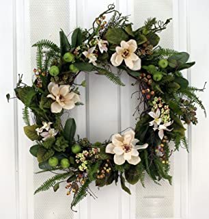 spring front door wreathsAmazoncom Magnificent Magnolia Wreath Silk Spring Front Door