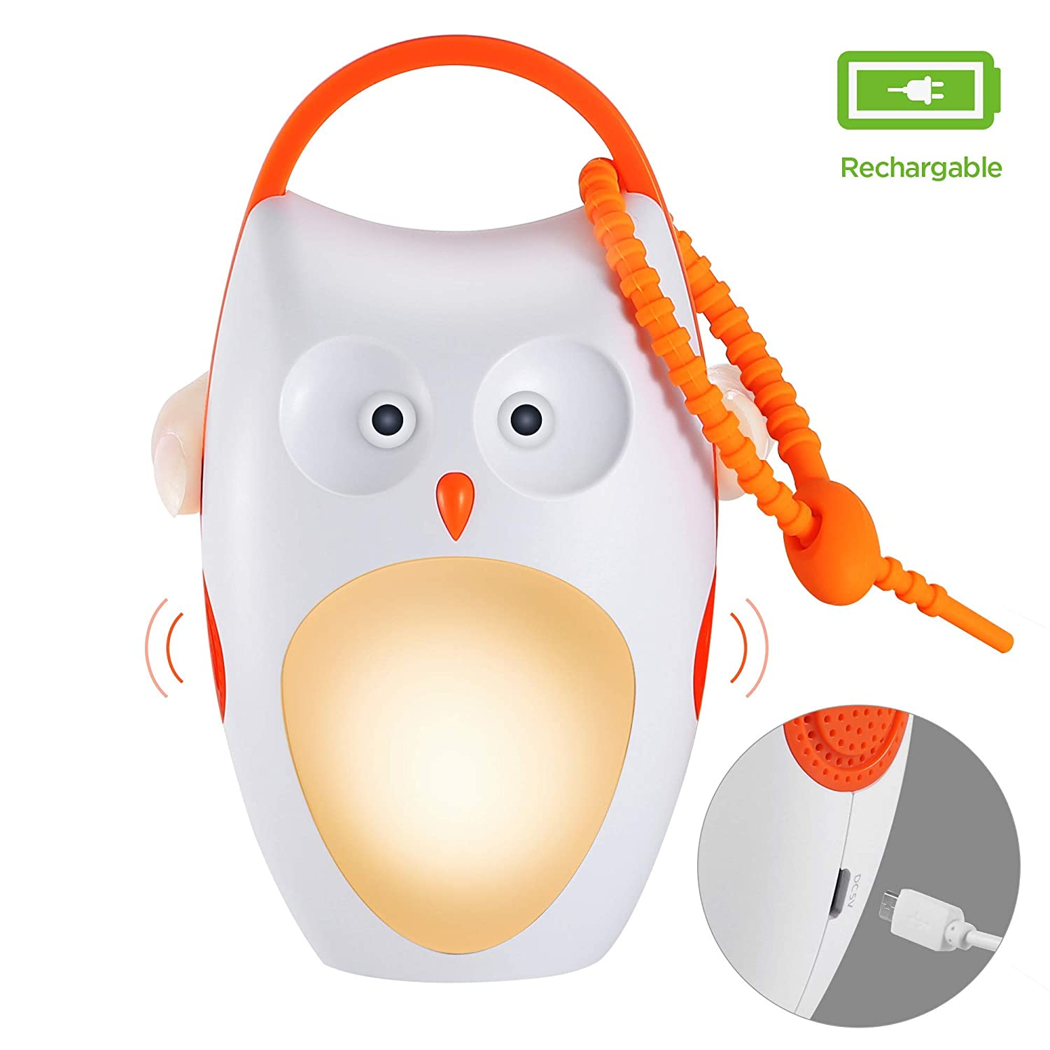 Updated SOAIY Portable Compact Baby Sleep Soother Owl White Noise Shusher Sound
