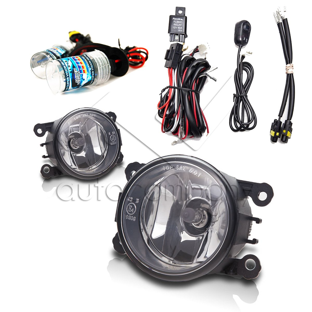 10 15 Ford Transit Connect Fog Light Set W Wiring Kit Model A Hid Conversion Clear Automotive