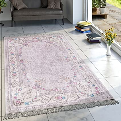 Designer Teppich Wohnzimmer Teppiche Bedruckt Bordüre Floral Pastell Rosa  Creme, Grösse:80x150 cm