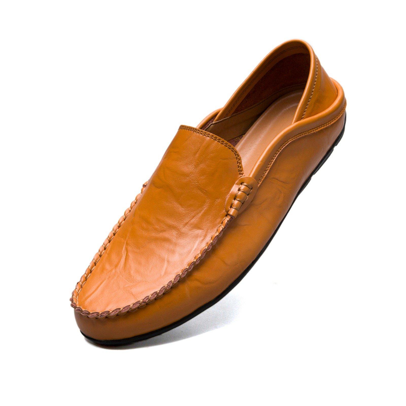 Handmade Genuine Leather Men Flats, Fashion Soft Leather Men Shoes Loafers men Slip On Leather Shoes (7.5, Yellow)
