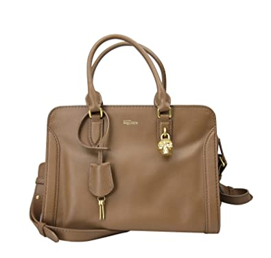 ae4b0c9509ad Alexander McQueen Skull Charm Brown Leather Medium Cuoio Calf Handbag  375306 2530  Handbags  Amazon.com