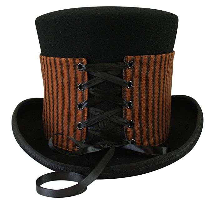 Women's Vintage Hats | Old Fashioned Hats | Retro Hats Historical Emporium Steampunk Corset Laced Reversible Hat Wrap - Tall $24.95 AT vintagedancer.com