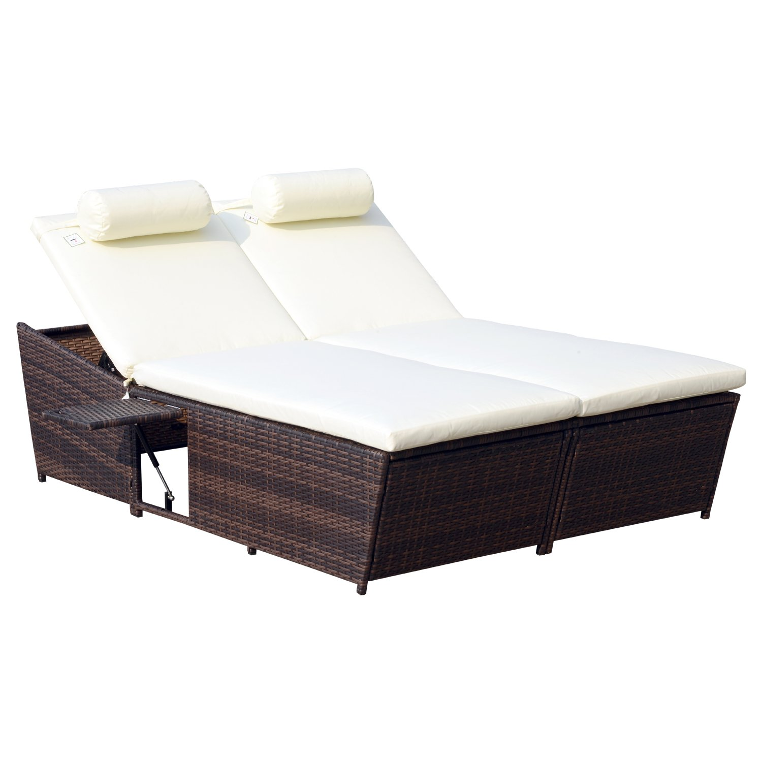 Amazoncom Outsunny Outdoor Rattan Wicker 2 Person Daybed W Side Tables