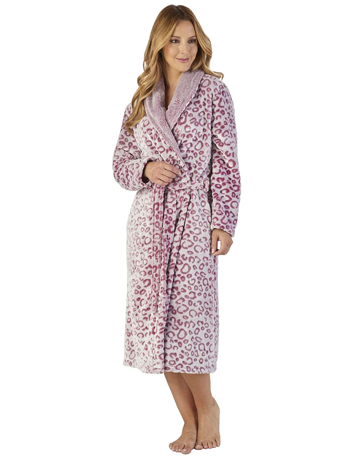 Slenderella HC2316 Women's Animal Pattern Leopard Print Robe Loungewear Bath Dressing Gown