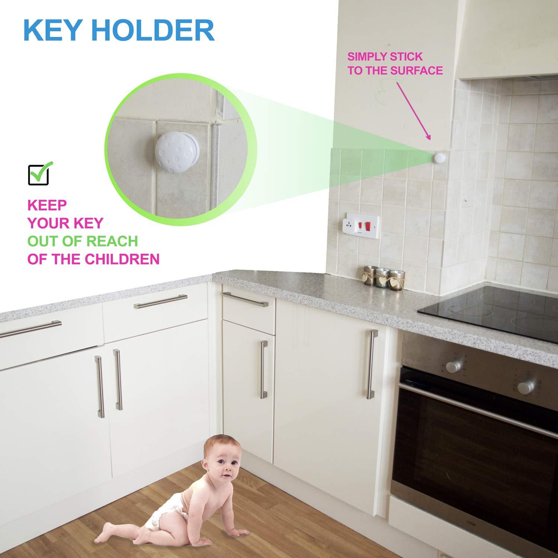 2 Keys /& 2 Key Holders Works with Selected Brands Magnetic Replacement Keys for BabyTrust Safety Cabinet Locks