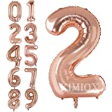 KIMIOX Number Balloons, 2 Pcs 40 Inch Birthday Number Balloon Party Decorations Supplies Helium Foil Mylar Digital Balloons (Rose Gold Number 2)