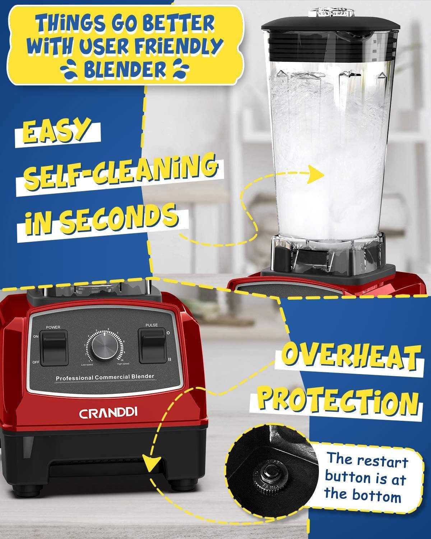 1500W CRANDDI Countertop Blender Easy Self-Cleaning High-Speed ...