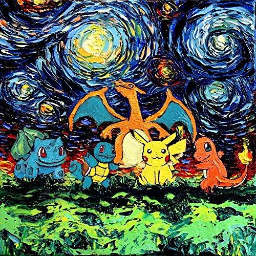 Pokemon-Art-Inspired-Starry-Night-Print-van-Gogh-Never-Battled-by-Aja-8x8-10x10-12x12-20x20-24x24-inch-sizes-Pikachu-Charizard-Squirtle-Charmander-Bulbasaur