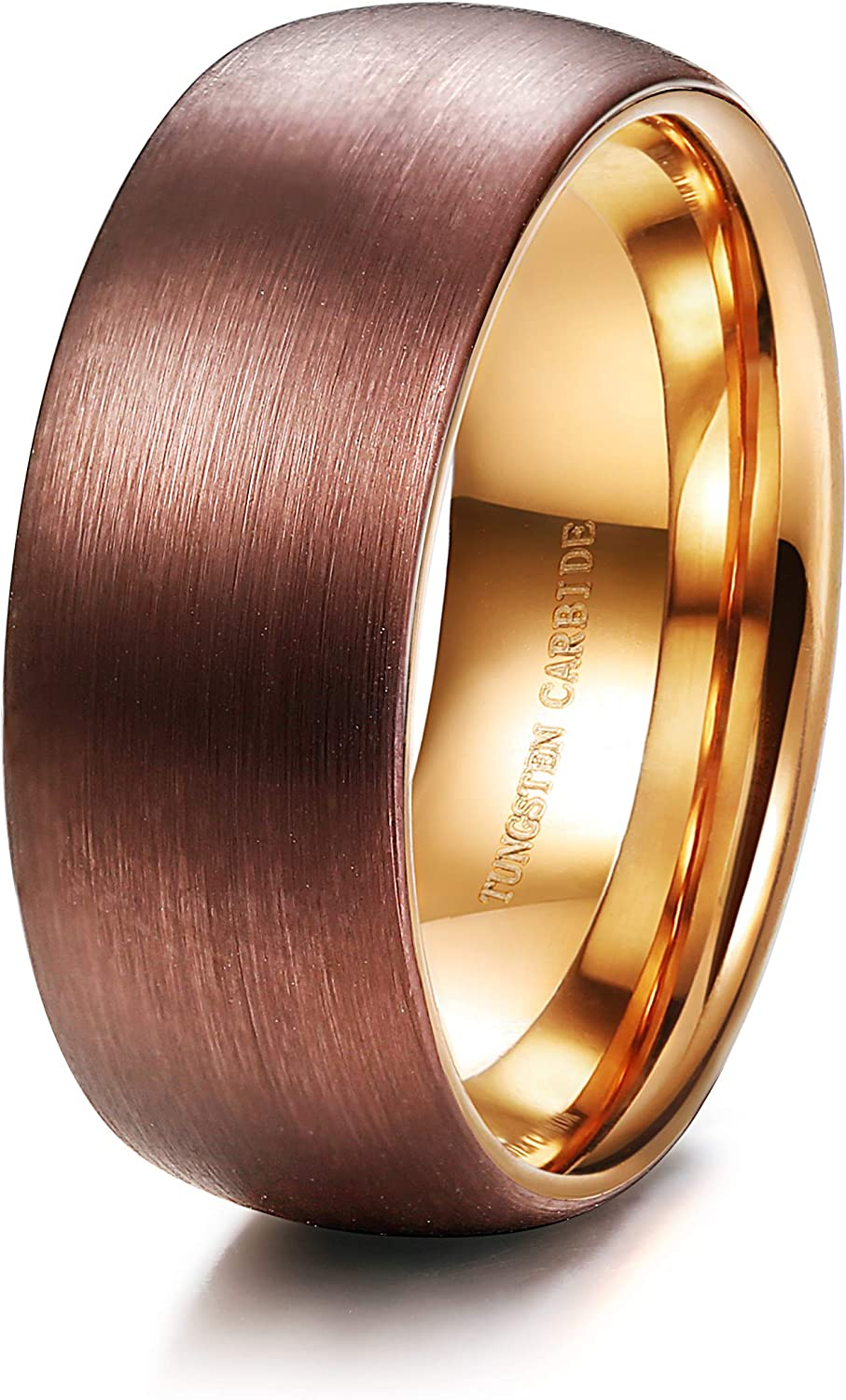 Tungary 8MM Brown Tungsten Rings for Men Women Wedding Engagement Band Rose Gold Inside High-Polish Finish Size 6-14