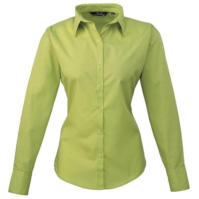 e27d76d0b1dc8 Premier Womens Ladies Poplin Long Sleeve Blouse   Plain Work Shirt (16)  (Lime)  Amazon.co.uk  Clothing