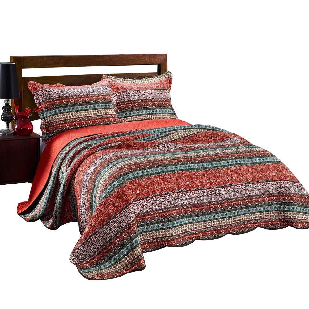 Amazoncom Alicemall Boho Bed In A Bag Red Flower Print Stripes