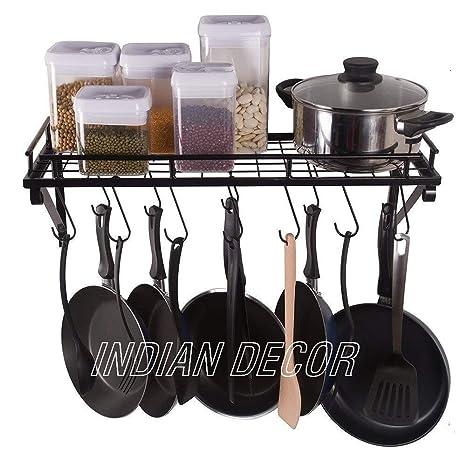 Buy Indian Decor Kitchen Shelf With Pot Rack Spice Rack Hooks For